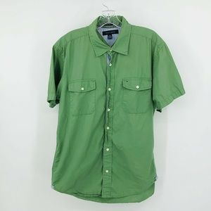 TOMMY HILFIGER Green Button Front Shirt Mens L
